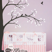 "Tree Wall Decal -  Nursery Wall Decoration - Tree Wall Sticker - Corner Tree decal - Large: approx 93"" x 67"" - KC001"