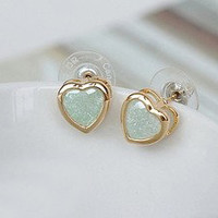 Cute Retro Sweet Heart Green Earrings