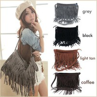 Fashion Tassel Celebrity Shoulder Messenger Cross Body Bag Tote Handbag