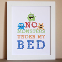 No Monsters Under My Bed Art Print 8x10 by HopSkipJumpPaper