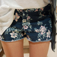 H Eighty One Denim Floral Shorts by WastedMisfits on Etsy