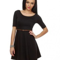 Scoop Natural Waist Satin Knee Length Black With Sleeves Dresses