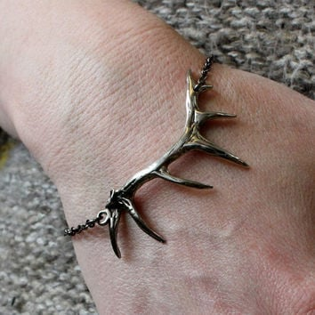 Elk Antler Bracelet in Solid White Bronze with Sterling Silver Overlay