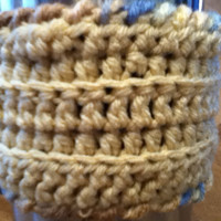 Tan Travel Mug Cozy with Variegated Edging