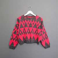 1980s NEON pink triangles cropped sweater by secretlake on Etsy