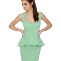 Sexy Mint Green Dress - Peplum Dress - Body-Con Dress - $40.00