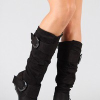 Best-79 Buckle Slouchy Knee High Boot