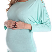 Mint-Button-Sleeve-Maternity-Top