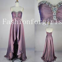 A Line Strapless Sweetheart With Crystal Front Short Long Back Chiffon Prom Dresses from fashionforgirls