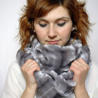 Grey Fluffy Striped Plush Cowl , Faux Fur Loop Infinity Scarf , Mother&#x27;s Day Gift Idea, For Mother