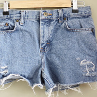 size 0/denim shorts/jean shorts/high by BrandiEverettShop on Etsy