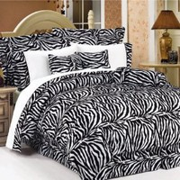 7Pcs Full Zebra Animal Kingdom Bedding Comforter Set: Home &amp; Kitchen