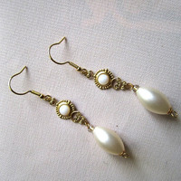 Bridal Ivory Faux Pearl on Golden Connector Earrings