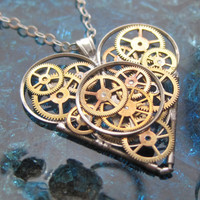 Mechanical Heart Necklace &quot;Chorus&quot; Clockwork Gears Heart Steampunk Necklace Clockwork Love Sculpture by A Mechanical Mind Valentines Day
