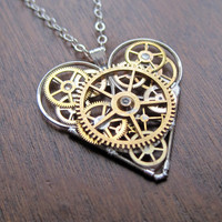 Mechanical Heart Necklace &quot;Memory&quot; Clockwork Gears Heart Steampunk Necklace Clockwork Love Sculpture by A Mechanical Mind Valentines Day