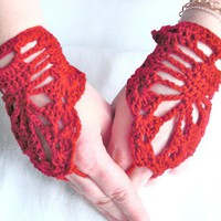 Steampunk  Lace fingerless gloves- Red Fashion- Wedding  Bride  Bridesmaide  Cranberry   Hippie   Teen Graduation day Tribal Fusion