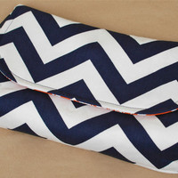 XL Clutch Navy Chevron with Orange Dandelions by lenalimestudio