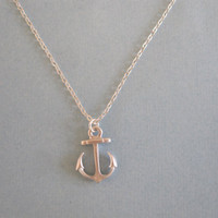 Small Anchor Necklace available in silver or by MarisaLeeDesigns