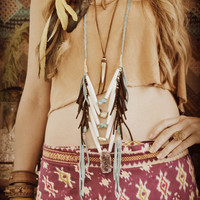 SACRED PATH Bohemian Earthy Leather Bone Horn Layering Necklace