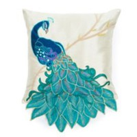 One Kings Lane - Thro by Marlo Lorenz - Fancy Square Peacock Pillow, Multi
