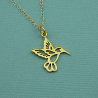 Gold Hummingbird Necklace - gold pendant necklaces - handmade