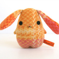 Eggbunny Orange Plaid Easter rabbit plush orange pink by Musers