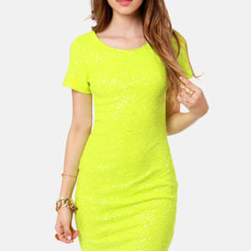 Enlighten Me Neon Yellow Sequin Dress