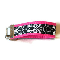 Fabric Key Fob Wristlet Pink Black White Damask Key Chain