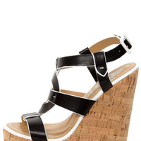 Elle 2 Black and White Sun Cross Platform Wedge Sandals