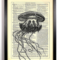 Jellyfish Upcycled Dictionary Art Vintage Book Print Recycled Vintage Dictionary Page Buy 2 Get 1 FREE