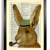 Sherlock Hare with Pipe and Fedora Upcycled Dictionary Vintage Book Art Print Buy 2 Get 1 FREE Rabbit Bunny