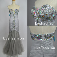 Mermaid Strapless Sweetheart Long Tulle Silver Prom Dresses, Homecoming Dresses, Bridesmaid Dress, Evening Dress