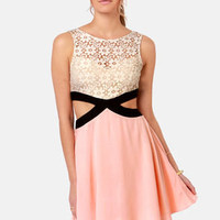 Embrace the Dark Sides Cutout Beige and Peach Dress