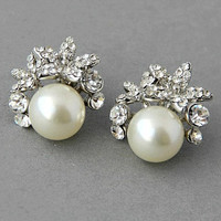 Bridal stud earrings. Crystal pearl wedding stud earrings, orchid pearls and crystals earrings, vintage pearls earrings- Style 474