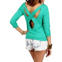 Kelly Green X Back Banded Top