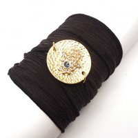 Silk Wrap Bracelet with Gold Hand of Fatima | charmed design