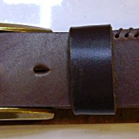 handmade  mans chocolate brown leather belt