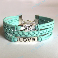 infinity bracelet, love bracelet, infinity charm and love charm, men's women's leather bracelets, braided bracelets