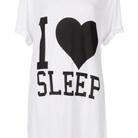 I Heart Sleep Slogan PJ Tee baggy t shirt