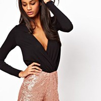 ASOS Playsuit with Sequin Short at asos.com