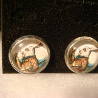 Silver Alice in Wonderland White Rabbit Ring Stud Earrings (984)