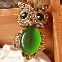 Cool Green owl Retro Necklace Chain