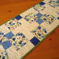 Spring Blue Floral Quilted Table Runner