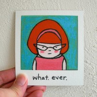 Funny Magnet Redhead Retro, whatever by SimplyCutebyKarin on Etsy