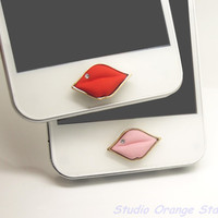 1PC Bling Crystal Sexy Lips Alloy Apple iPhone by StudioOrangeStar