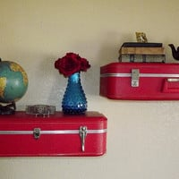 Vintage Suitcase Shelves 2 Shelves by QuirksByAnnie on Etsy