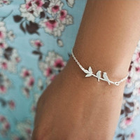 Lovebirds Bracelet in Silver by shlomitofir on Etsy