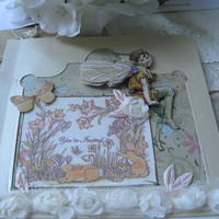 3D Fairy 6x6 blank card with butterfly and spring by BertoliBridal
