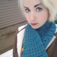 Thick Blue  Handmade Crochet Scarf Chunky Scarf by OwlPudding
