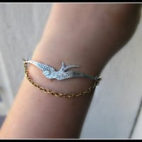 silver and gold bird bracelet bird jewelry bird by alapopjewelry